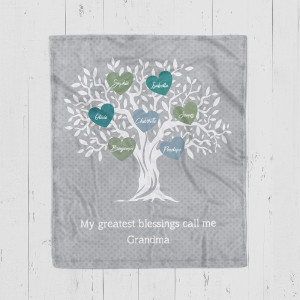 My Greatest Blessings Call Me Grandma Family Tree Personalized Blanket