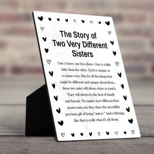 """""""The Story of Two Very Different Sisters"""" Desktop Plaque"""
