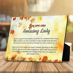 You Are One Amazing Lady Desktop Plaque